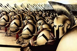 Leonidas and his Spartans in formation (300 Comics) HD
