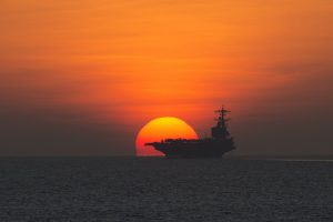 Aircraft Carrier at Sunset HD