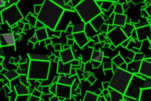 3D Green Neon Cubes 8K