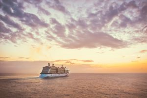 Cruise Ship during a sunset HD
