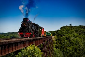 Steam Train crosses a bridge in the middle of nature HD