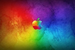 Colorful Apple Logo On Multicolor Background HD