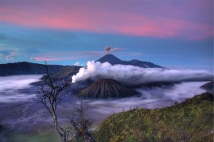 Volcanoes surrounded by clouds HD