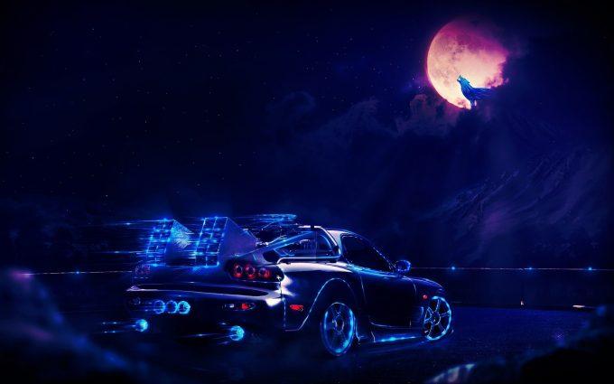Back to the Future DeLorean At Night