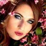 Beautiful brunette woman in spring season