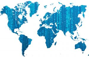 Digital World Map With Binary Numbers (Light Blue) 5K