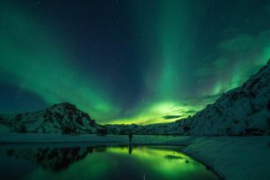 Man Looking At The Aurora Borealis HD