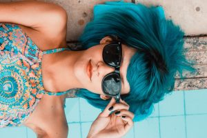 Pretty Woman, Blue Hair, Sunglasses, Summer, 4K