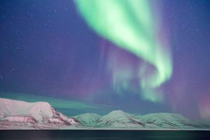 Aurora Borealis Over Snowy Mountains 5K