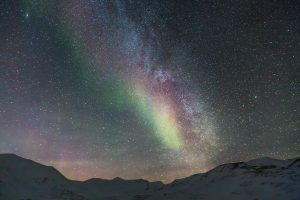 Milky Way with Aurora Borealis Over Snowy Mountains 5K