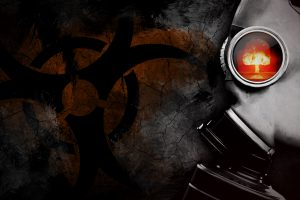 Man with a gas mask and the nuclear symbol in the background (RED) 4K