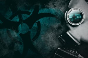 Man with a gas mask and the nuclear symbol in the background (BLUE) 4K