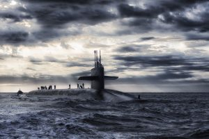 Submarine on the surface of the ocean 5K