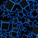 3D Blue Neon Cubes