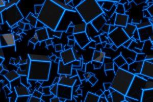 3D Blue Neon Cubes 8K