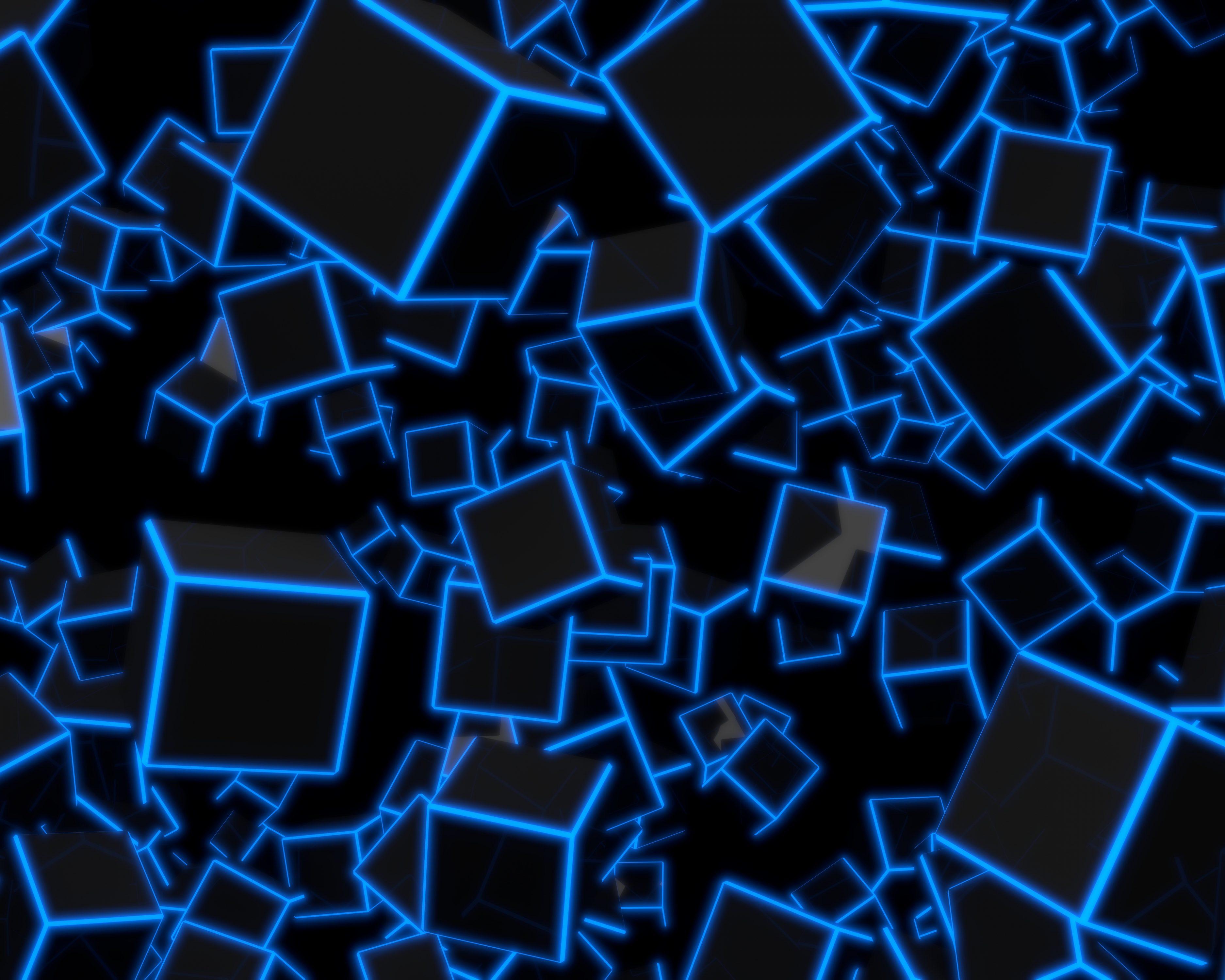3d Blue Neon Cubes 8k Uhd Wallpaper