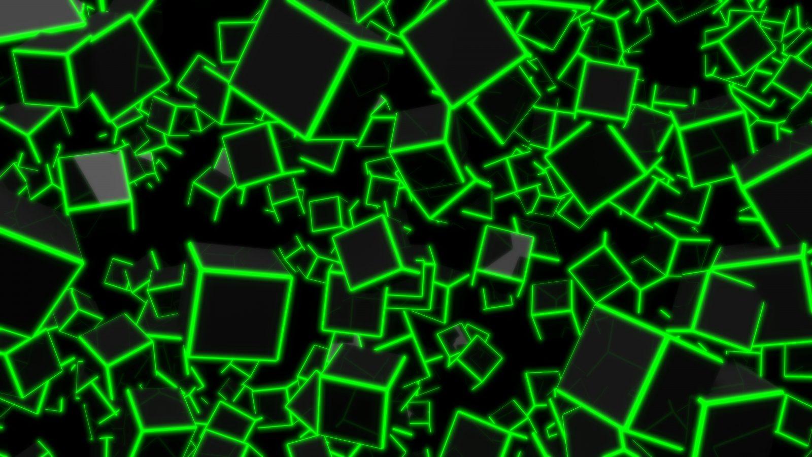 3D Green Neon Cubes 8K UHD Wallpaper