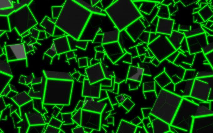 3D Green Neon Cubes