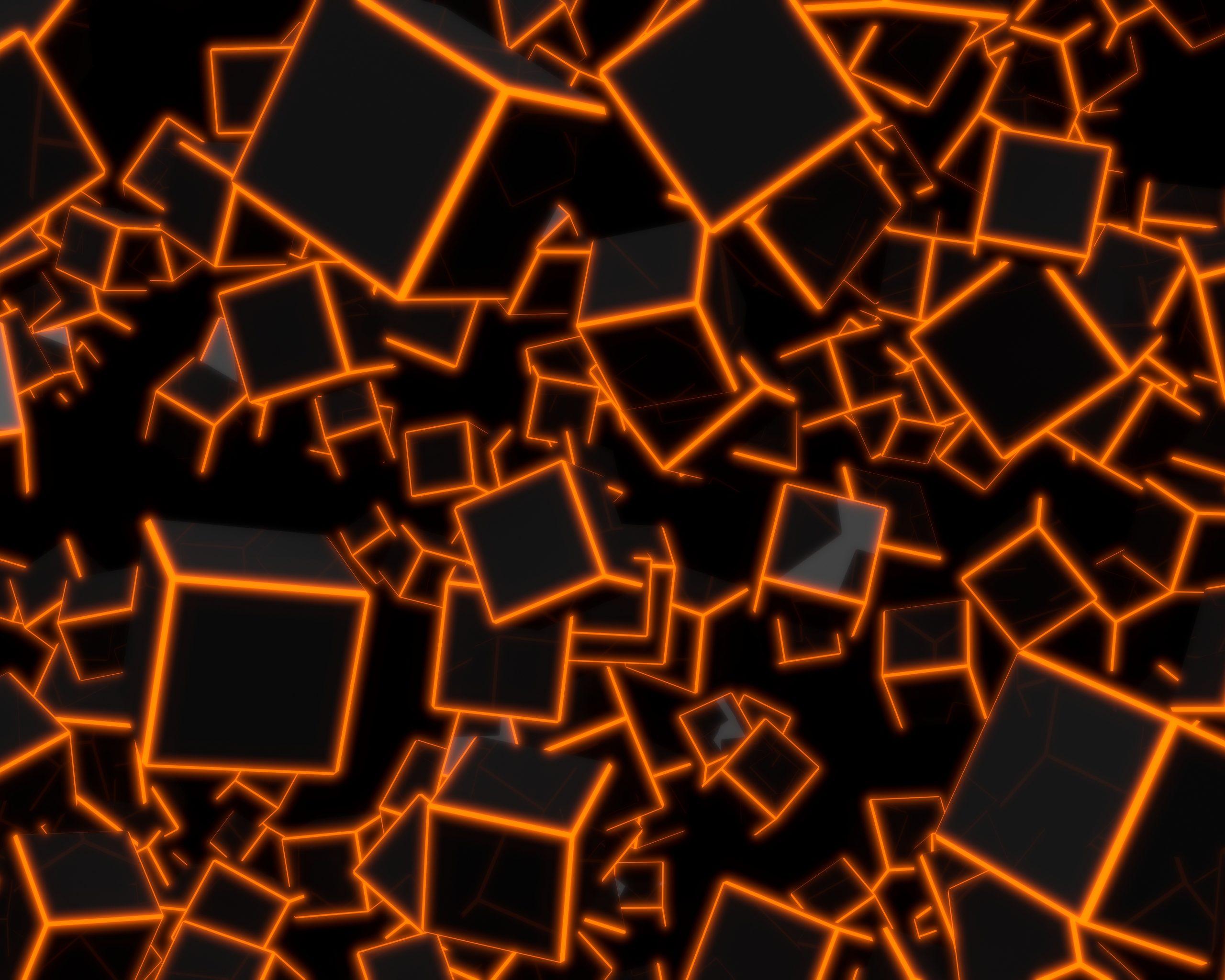 3D Orange Neon Cubes 8K UHD Wallpaper