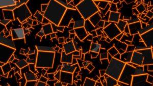 3D Orange Neon Cubes 8K