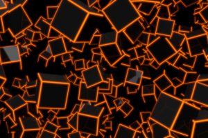 3D Orange Neon Cubes