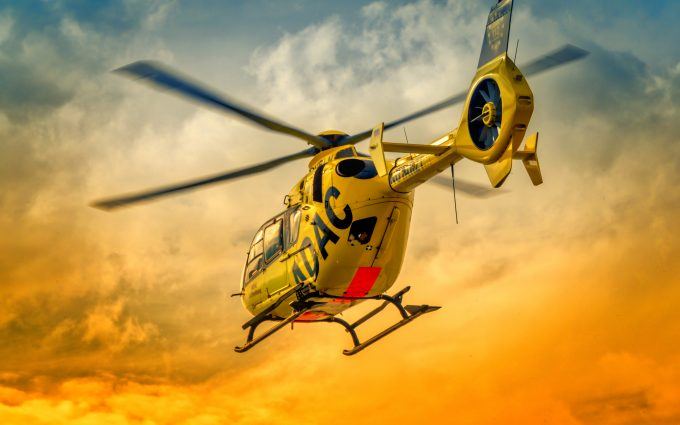 ADAC Rescue Helicopter At Sunset