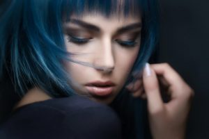 Beautiful Woman With Blue Hair