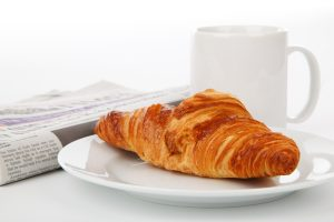 Breakfast with coffee and croissant 4K