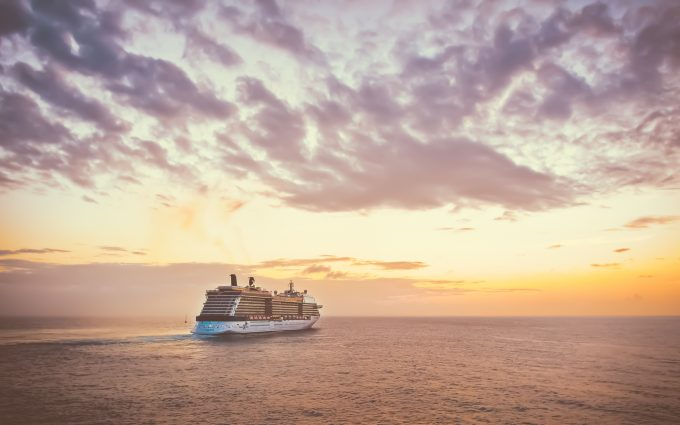 Cruise Ship During A Sunset
