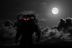 Dark demon a full moon evening HD