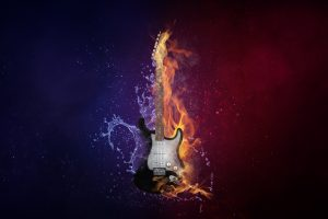 Electric guitar in flame 5K