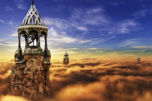 Castle towers in the sky (Fantasy) 6K