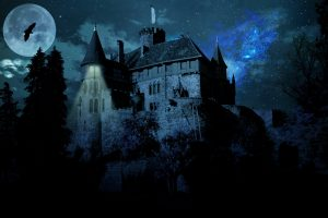 A haunted castle on a full moon night HD