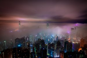 Hong Kong during a foggy night 5K