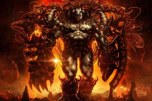 Infernal demon emerging from the flames HD