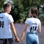 Lovely Couple Holding Hands In A Field Of Lavender