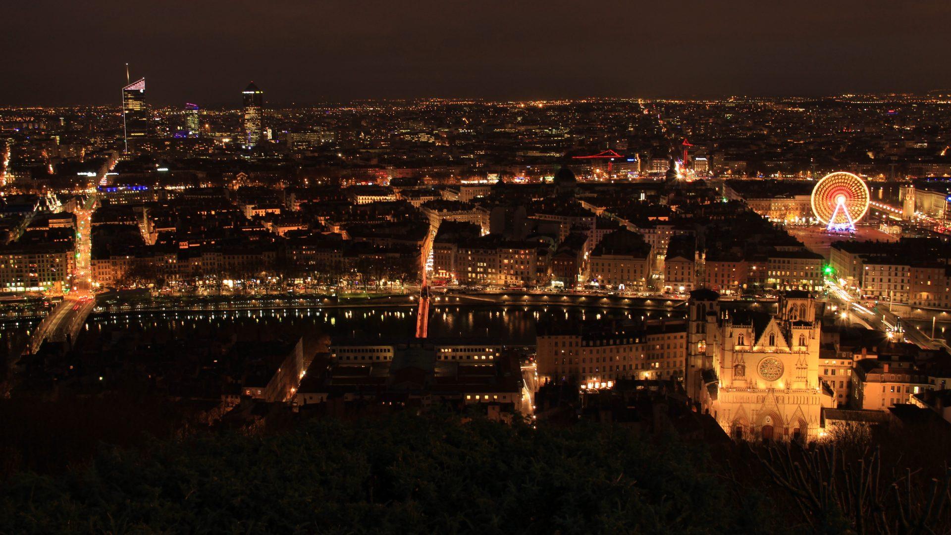 Lyon At Night France 5k Uhd Wallpaper