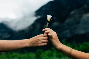 Romantic Couple Holding A Flower
