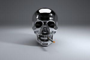Steel skull who smoke a cigarette HD