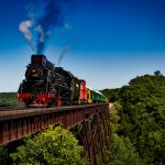 Steam Train Crosses A Bridge In The Middle Of Nature