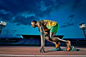Usain Bolt On Starting Blocks