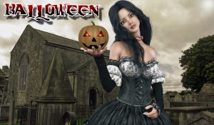 Witch with a halloween pumpkin 4K