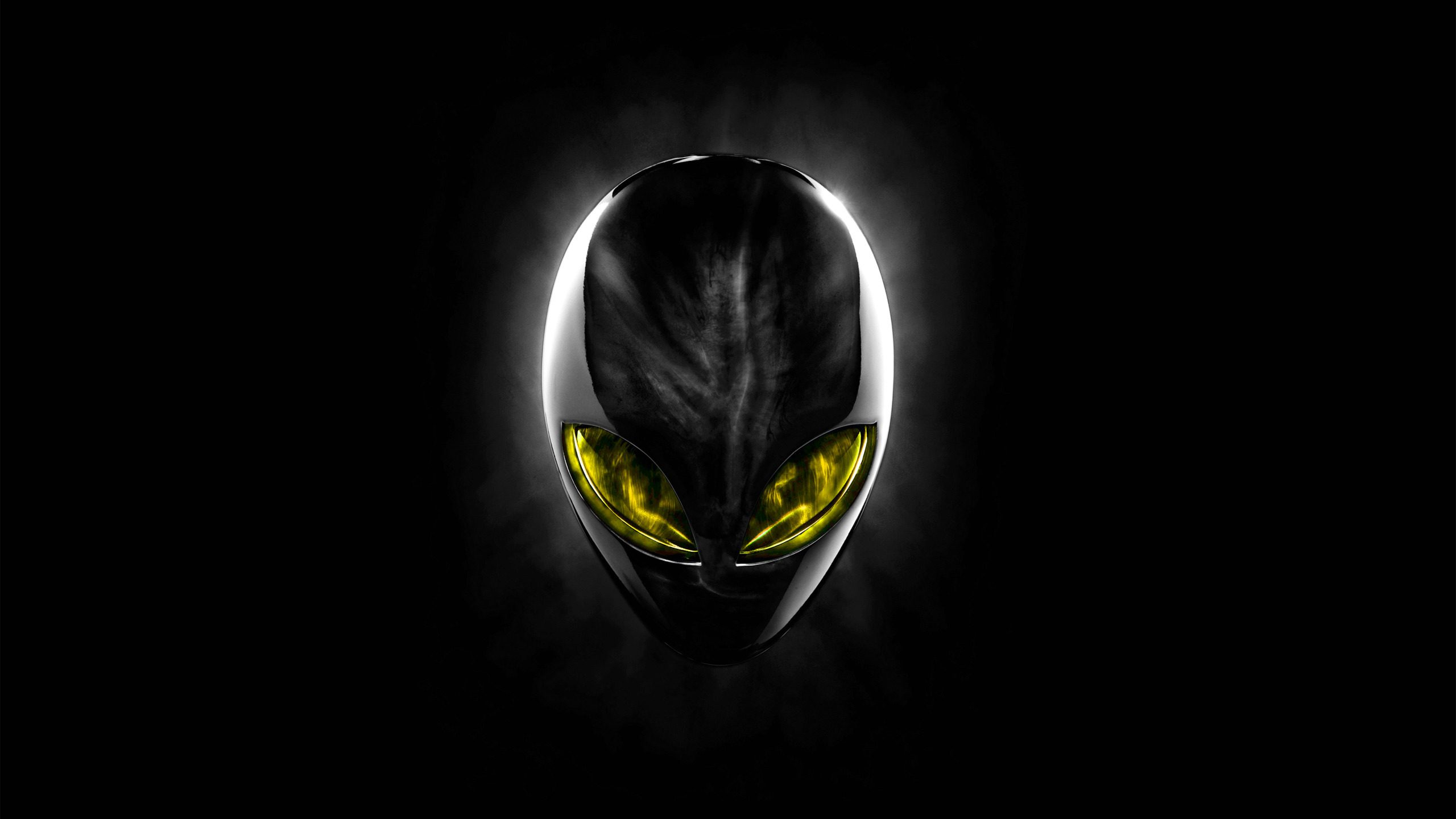 Alienware Eclipsehead Black Yellow Hd Wallpaper