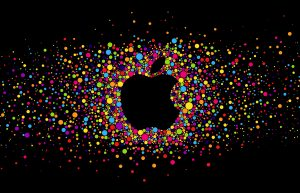 Colorful Apple Logo On Black Background HD
