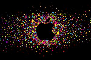 Colorful Apple Logo On Black Background HD