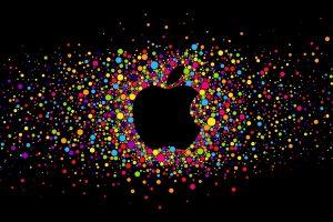 Colorful Apple Logo On Black Background