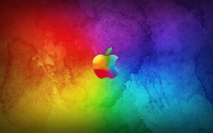 Colorful Apple Logo On Multicolor Background