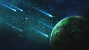 Comets falling to an green exoplanet 4K