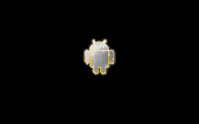 Diamond Gold Android Logo On Black Background