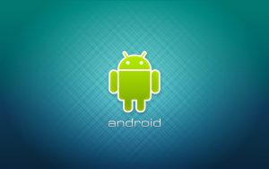 Green Android Logo On Light Blue Background HD